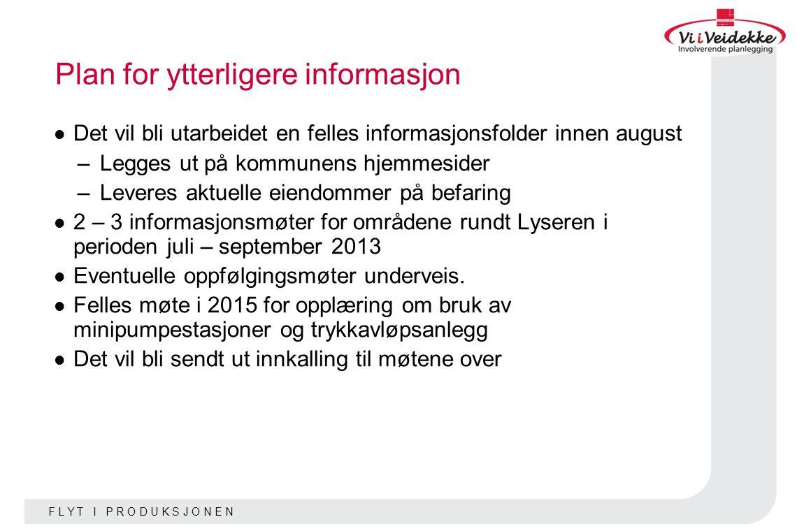 Plan for ytterligere informasjon