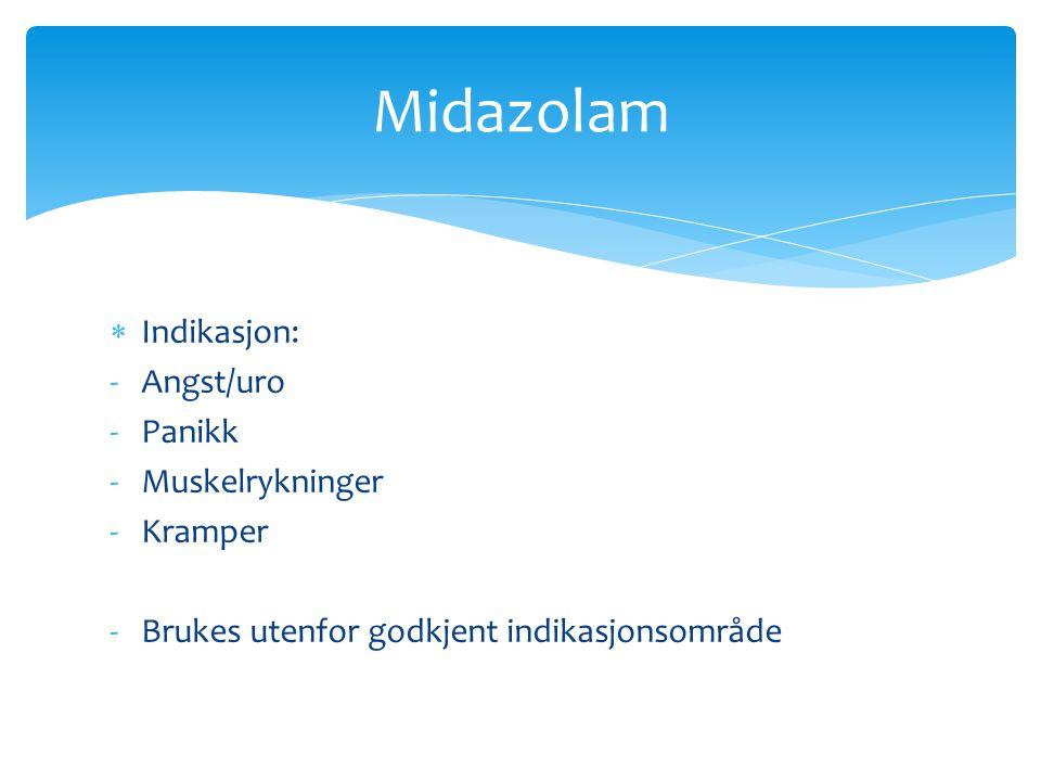 Midazolam Indikasjon: Angst/uro Panikk Muskelrykninger Kramper
