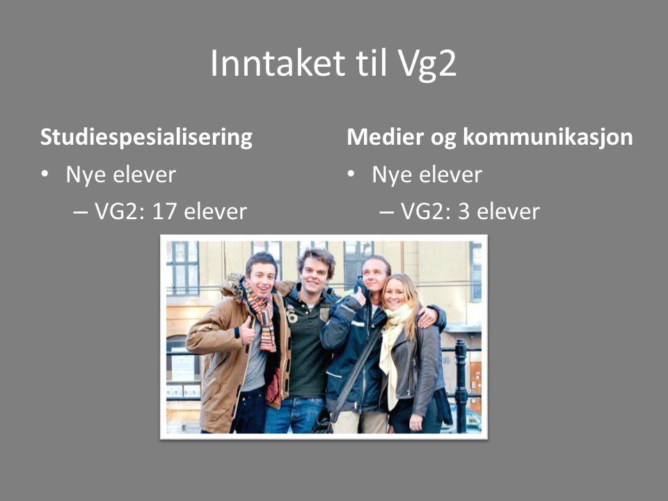 Inntaket til Vg2 Studiespesialisering Nye elever VG2: 17 elever