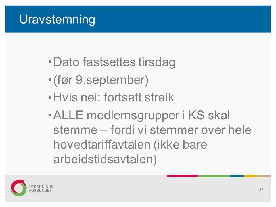 Uravstemning Dato fastsettes tirsdag. (før 9.september) Hvis nei: fortsatt streik.
