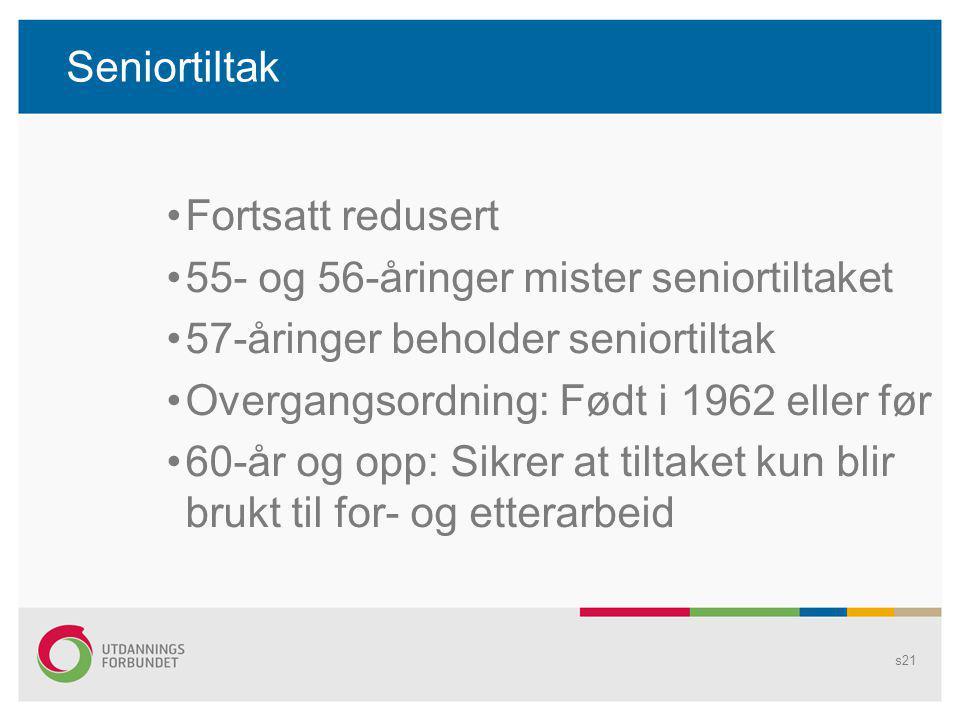 Seniortiltak Fortsatt redusert. 55- og 56-åringer mister seniortiltaket. 57-åringer beholder seniortiltak.