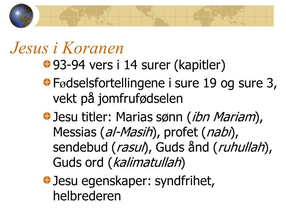 Jesus i Koranen 93-94 vers i 14 surer (kapitler)