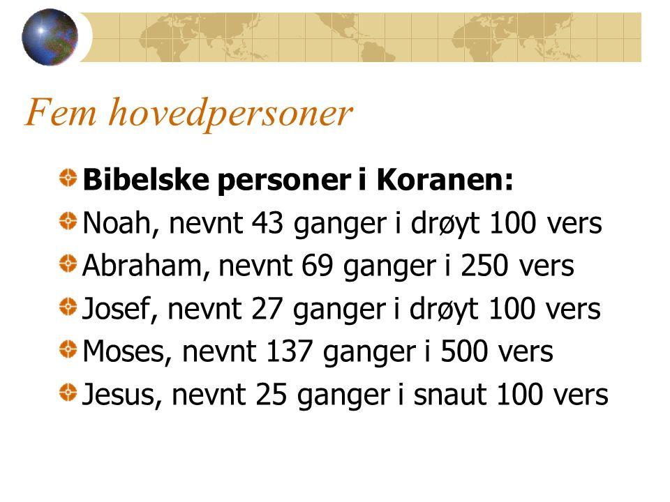 Fem hovedpersoner Bibelske personer i Koranen: