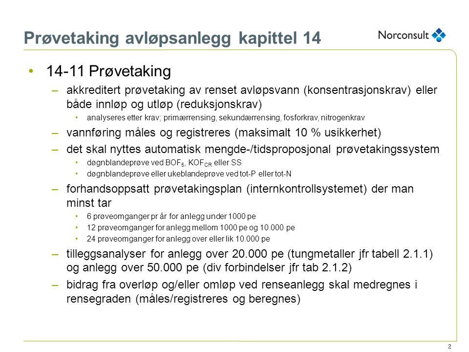 Prøvetaking avløpsanlegg kapittel 14