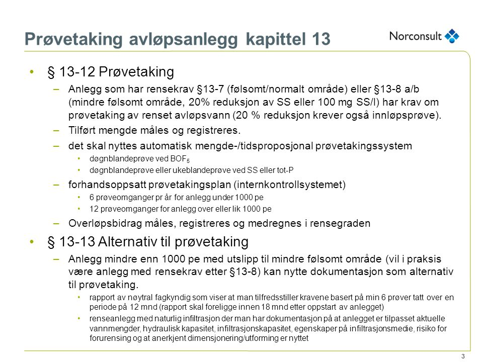 Prøvetaking avløpsanlegg kapittel 13