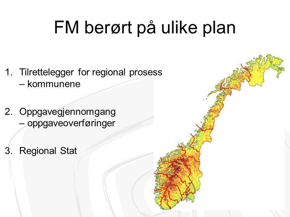 FM berørt på ulike plan Tilrettelegger for regional prosess – kommunene. Oppgavegjennomgang – oppgaveoverføringer.