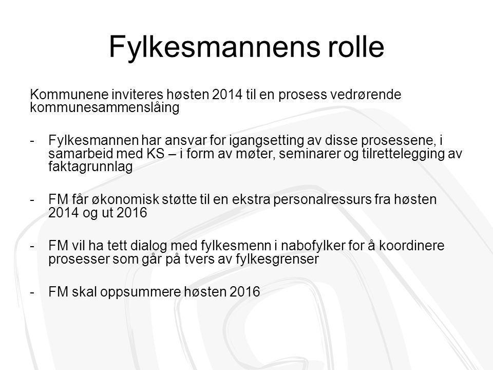 Fylkesmannens rolle Kommunene inviteres høsten 2014 til en prosess vedrørende kommunesammenslåing.