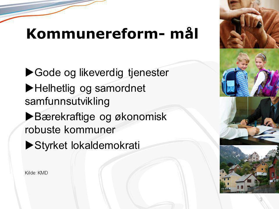 Kommunereform- mål uGode og likeverdig tjenester