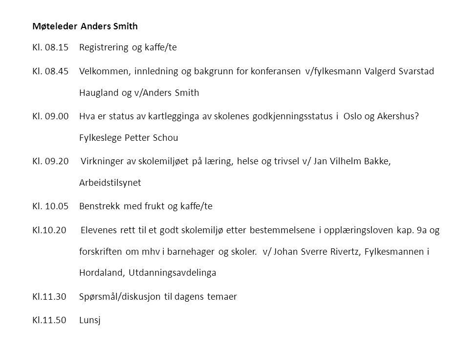 Møteleder Anders Smith Kl. 08. 15 Registrering og kaffe/te Kl. 08