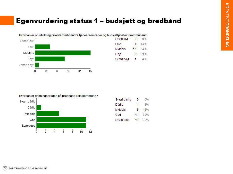 Egenvurdering status 1 – budsjett og bredbånd