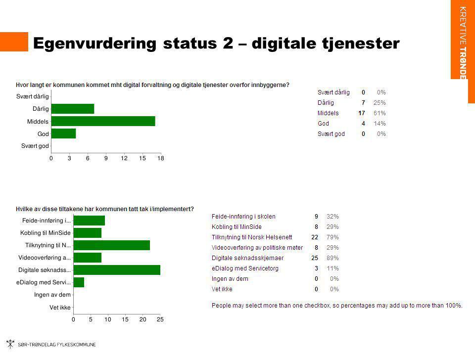 Egenvurdering status 2 – digitale tjenester