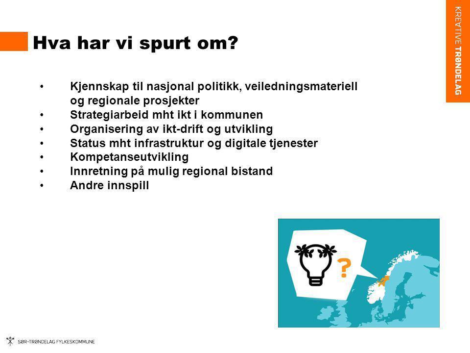 Hva har vi spurt om Kjennskap til nasjonal politikk, veiledningsmateriell og regionale prosjekter.