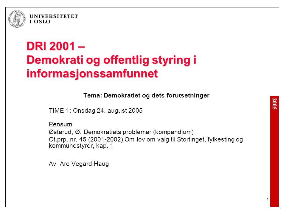 DRI 2001 – Demokrati og offentlig styring i informasjonssamfunnet