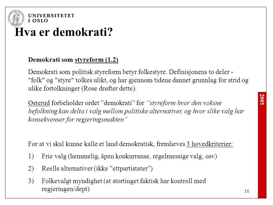 Hva er demokrati Demokrati som styreform (1.2)