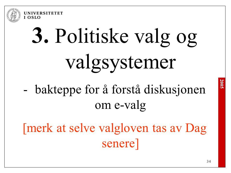 3. Politiske valg og valgsystemer