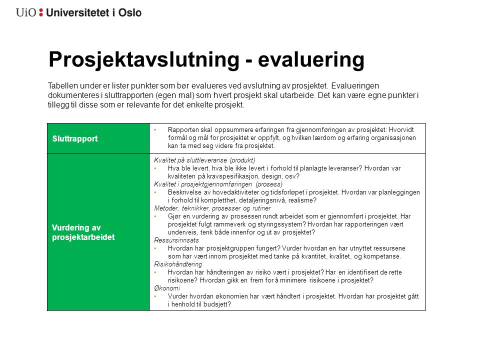 Prosjektavslutning - evaluering