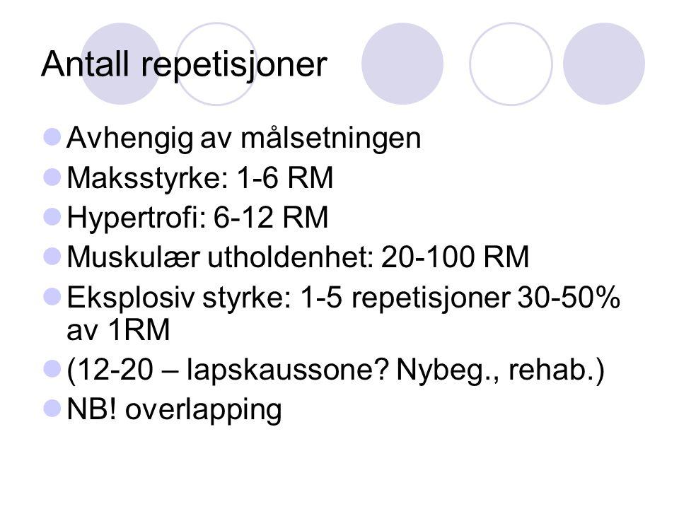 Antall repetisjoner Avhengig av målsetningen Maksstyrke: 1-6 RM
