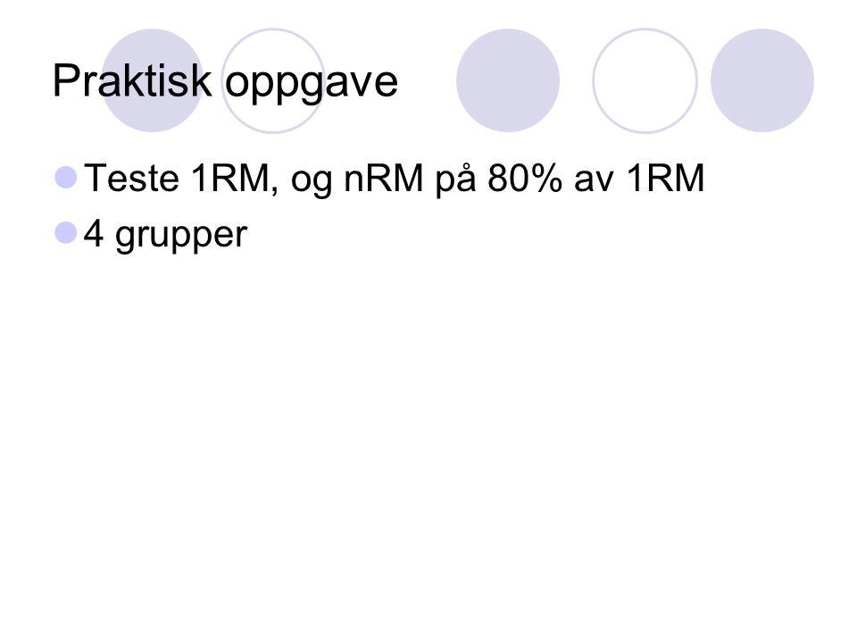 Praktisk oppgave Teste 1RM, og nRM på 80% av 1RM 4 grupper