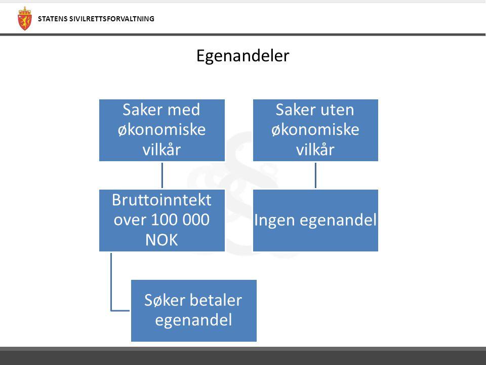 Egenandeler Saker med økonomiske vilkår Bruttoinntekt over 100 000 NOK