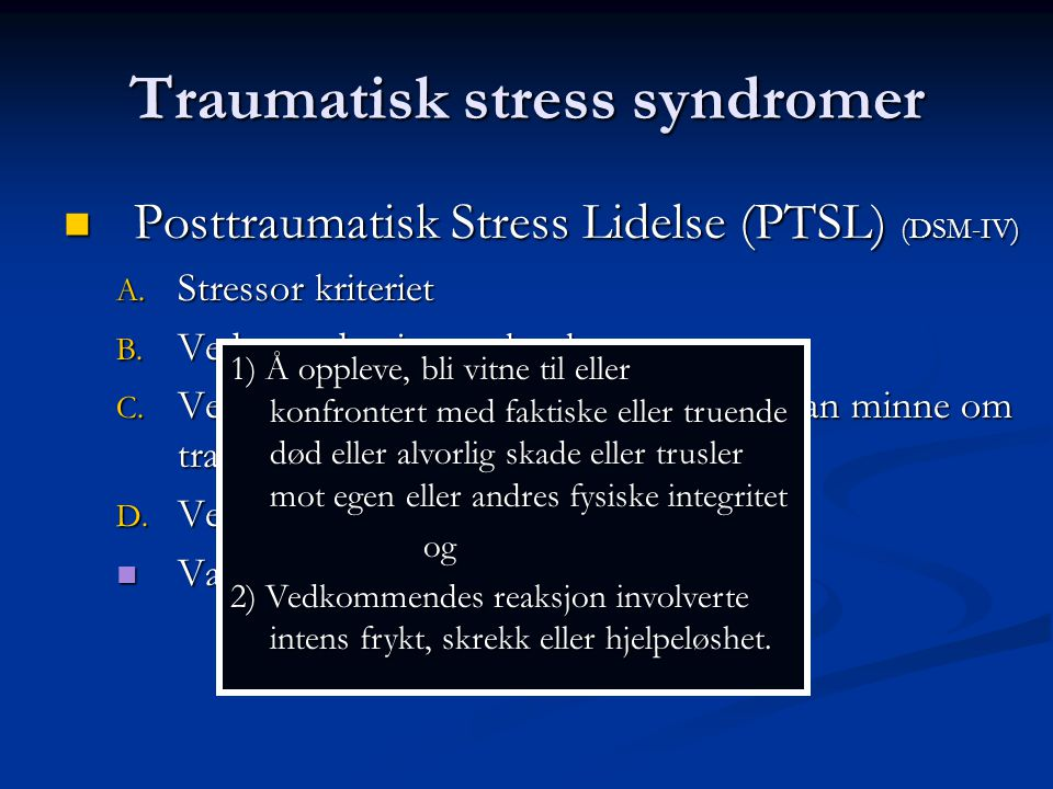 Traumatisk stress syndromer
