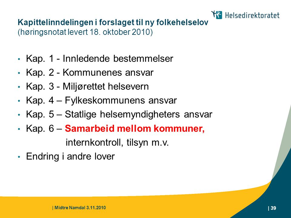 Kap. 1 - Innledende bestemmelser Kap. 2 - Kommunenes ansvar