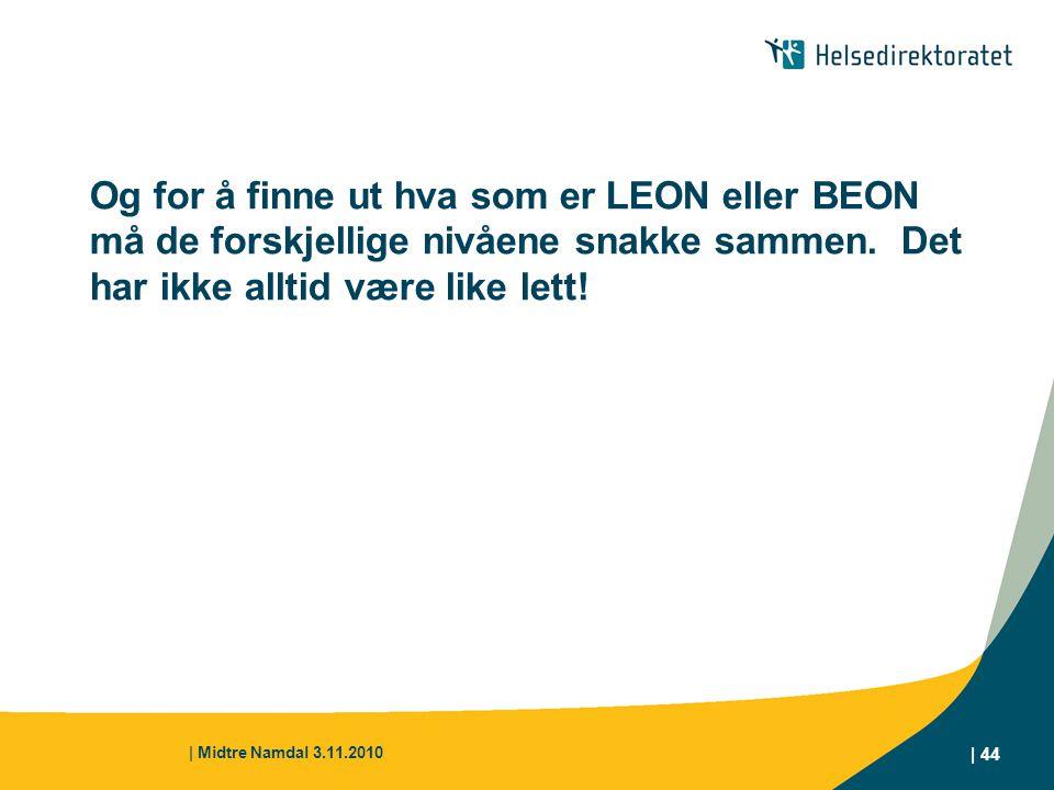 Og for å finne ut hva som er LEON eller BEON må de forskjellige nivåene snakke sammen. Det har ikke alltid være like lett!