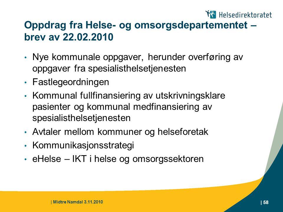 Oppdrag fra Helse- og omsorgsdepartementet – brev av 22.02.2010