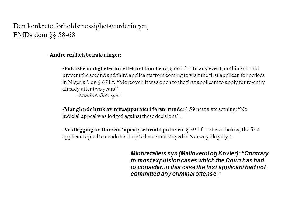 Den konkrete forholdsmessighetsvurderingen, EMDs dom §§ 58-68