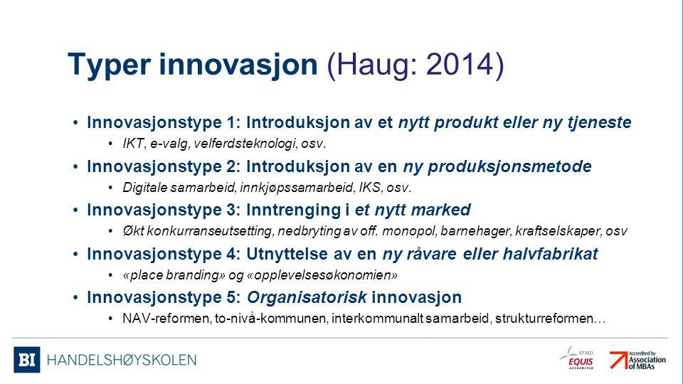 Typer innovasjon (Haug: 2014)