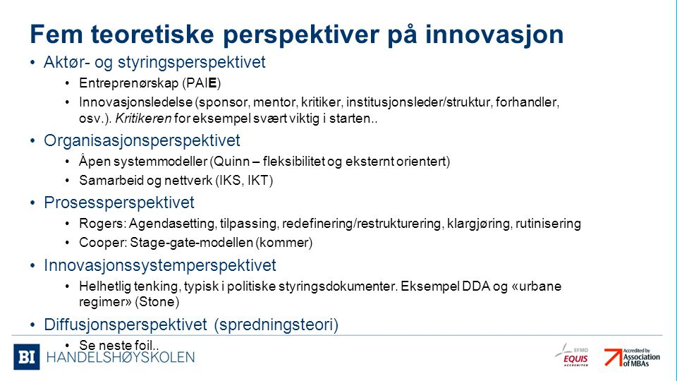 Fem teoretiske perspektiver på innovasjon