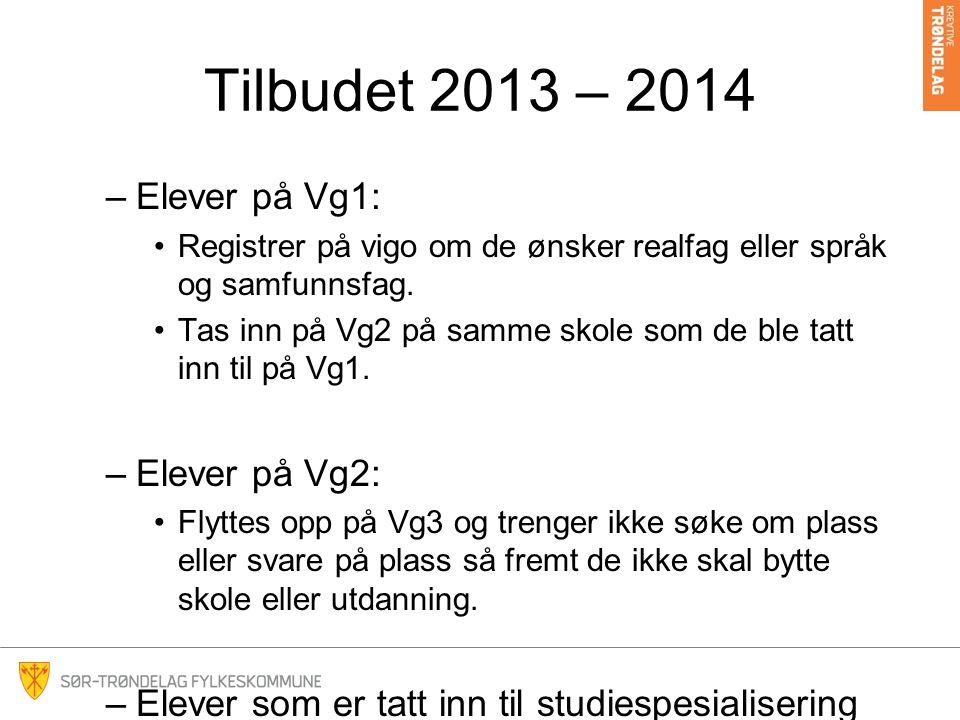 Tilbudet 2013 – 2014 Elever på Vg1: Elever på Vg2: