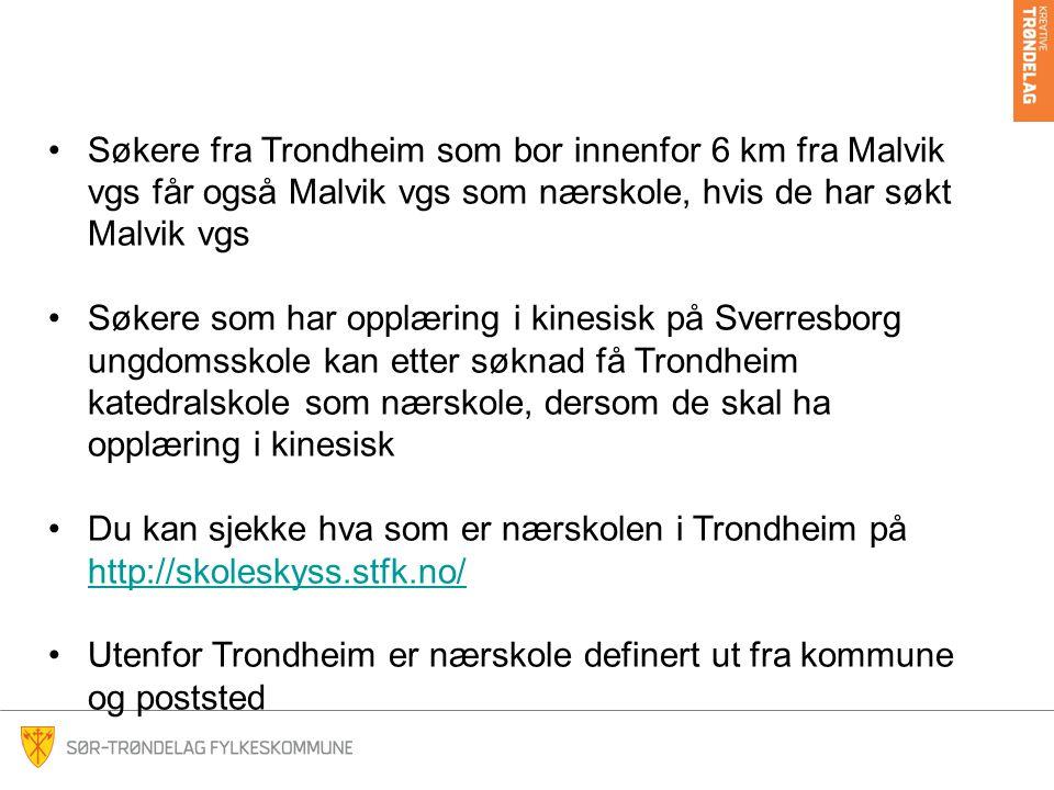Utenfor Trondheim er nærskole definert ut fra kommune og poststed