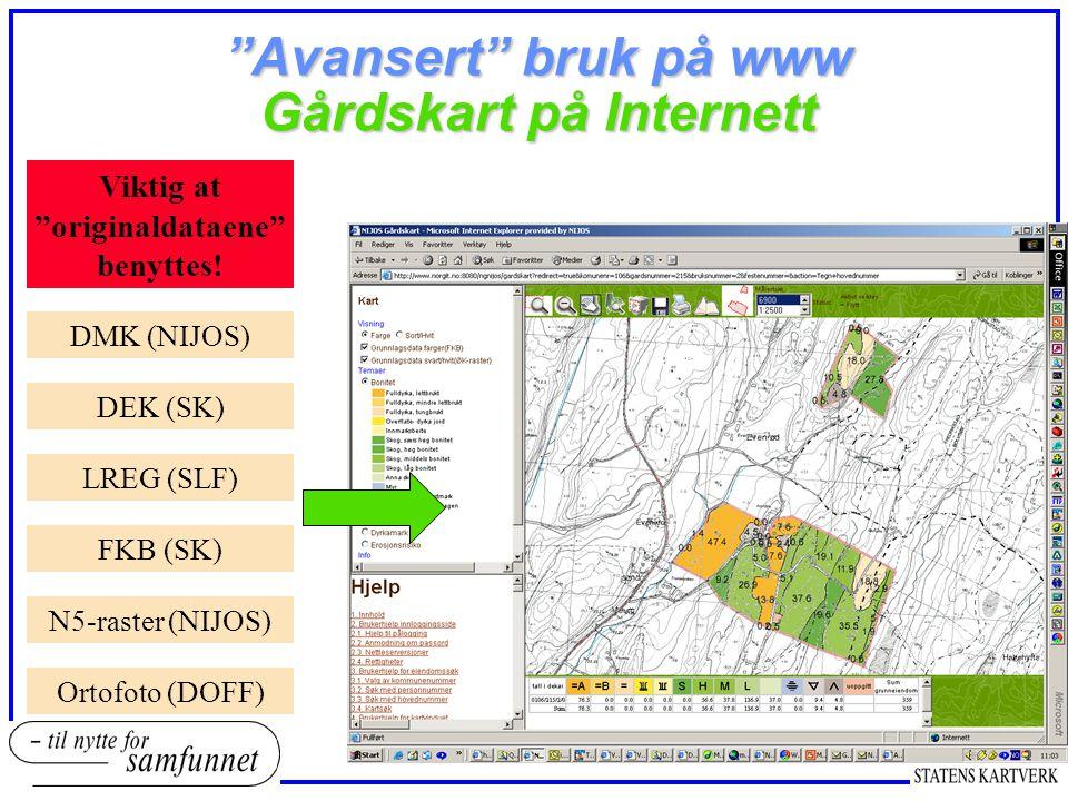 Avansert bruk på www Gårdskart på Internett