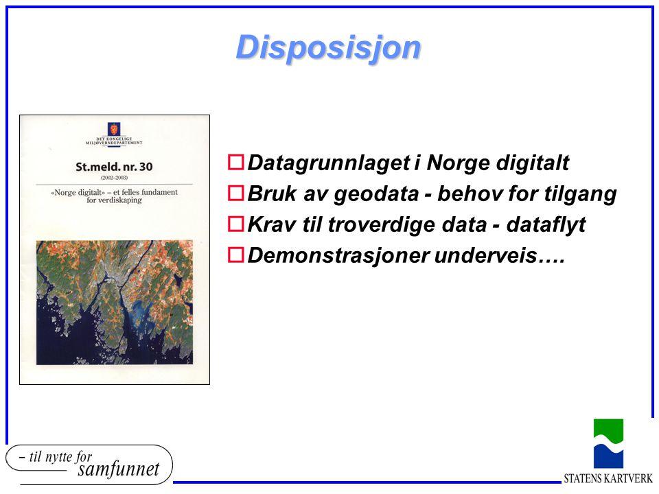 Disposisjon Datagrunnlaget i Norge digitalt