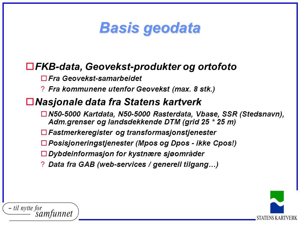 Basis geodata FKB-data, Geovekst-produkter og ortofoto