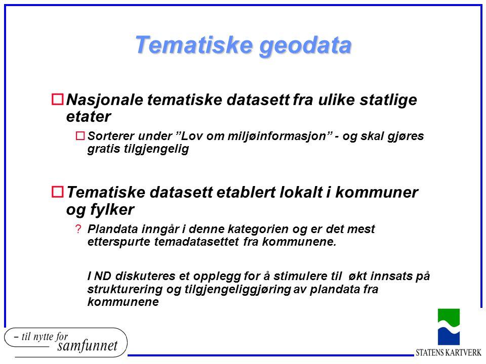 Tematiske geodata Nasjonale tematiske datasett fra ulike statlige etater.