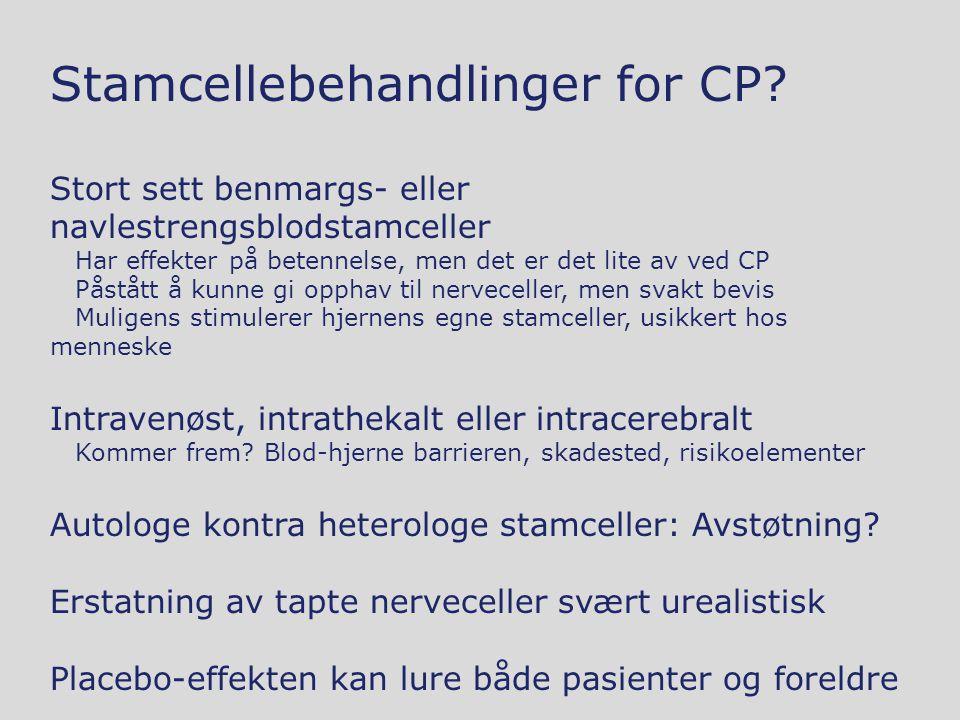 Stamcellebehandlinger for CP