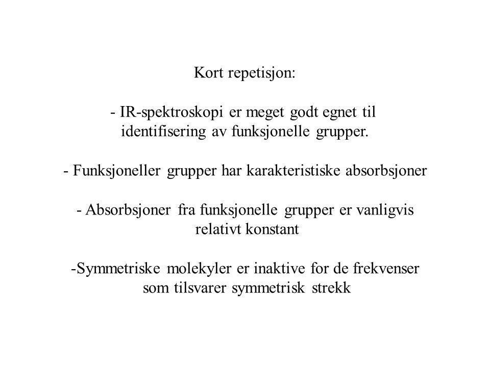 - IR-spektroskopi er meget godt egnet til