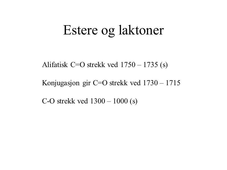 Estere og laktoner Alifatisk C=O strekk ved 1750 – 1735 (s)