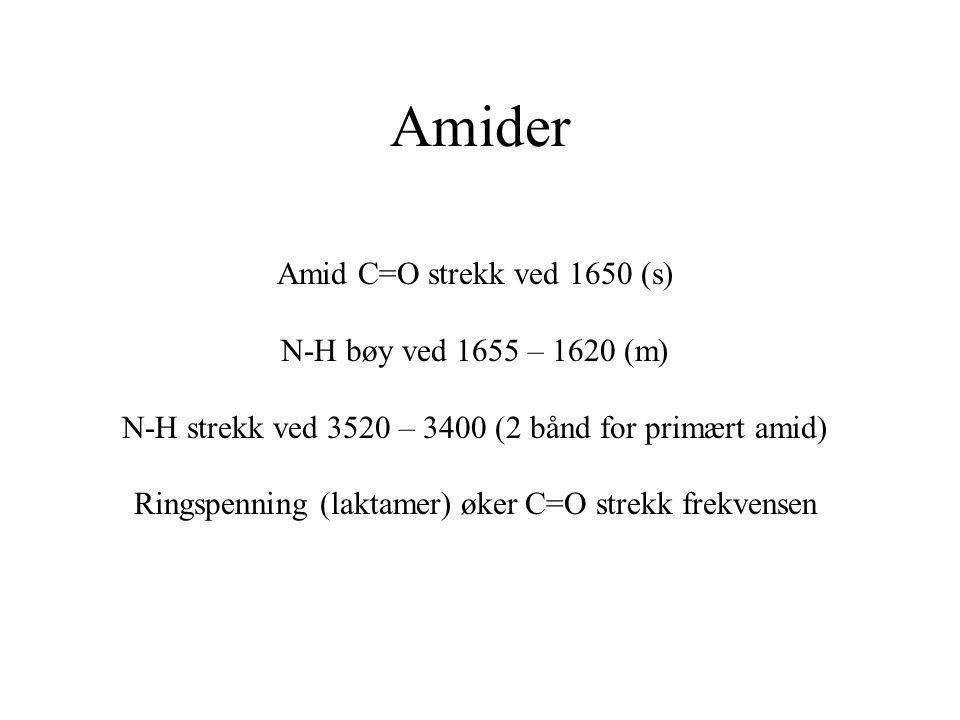 Amider Amid C=O strekk ved 1650 (s) N-H bøy ved 1655 – 1620 (m)