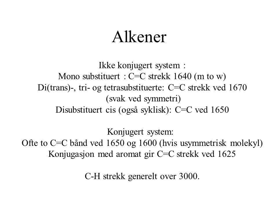 Alkener Ikke konjugert system :