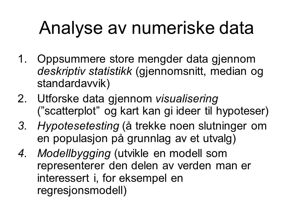 Analyse av numeriske data