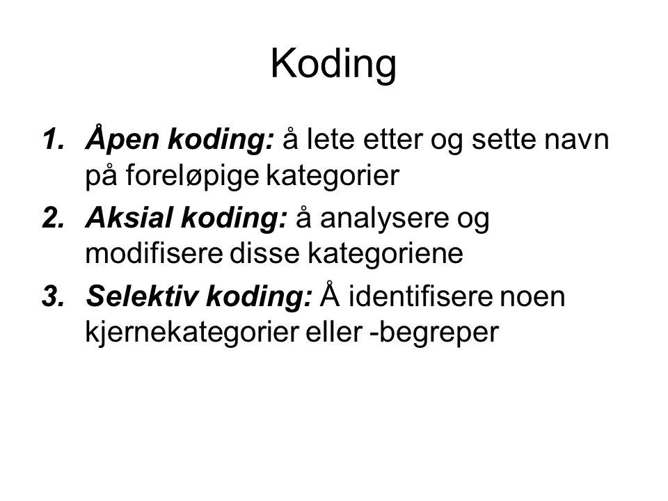 Koding Åpen koding: å lete etter og sette navn på foreløpige kategorier. Aksial koding: å analysere og modifisere disse kategoriene.