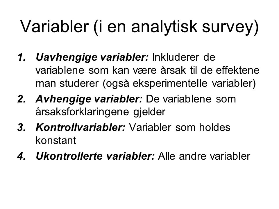 Variabler (i en analytisk survey)