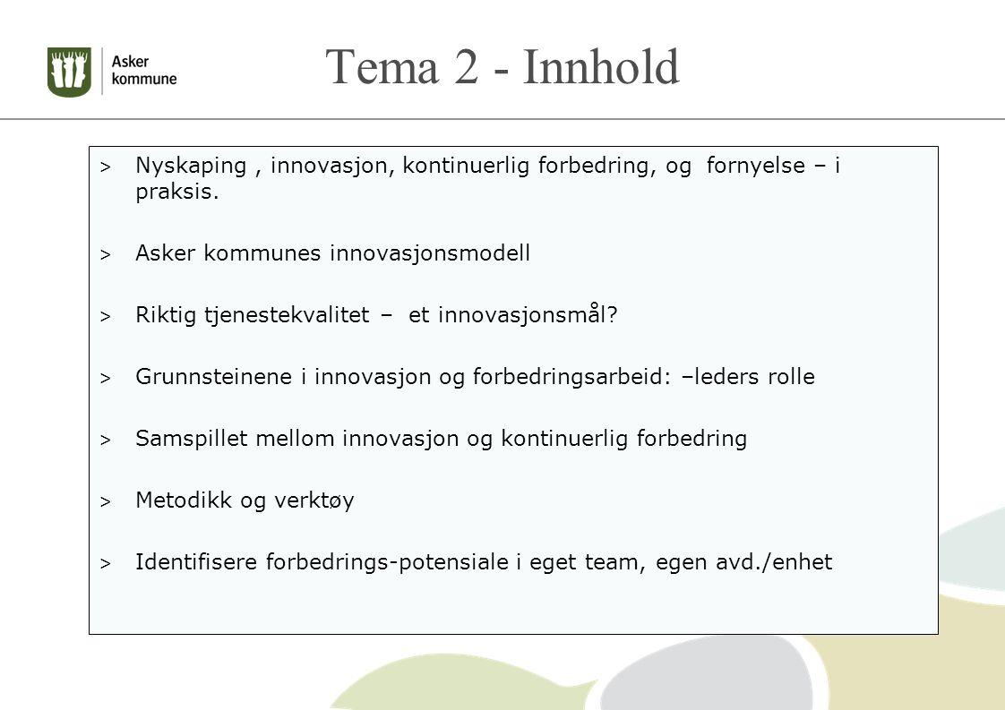 Tema 2 - Innhold Nyskaping , innovasjon, kontinuerlig forbedring, og fornyelse – i praksis. Asker kommunes innovasjonsmodell.