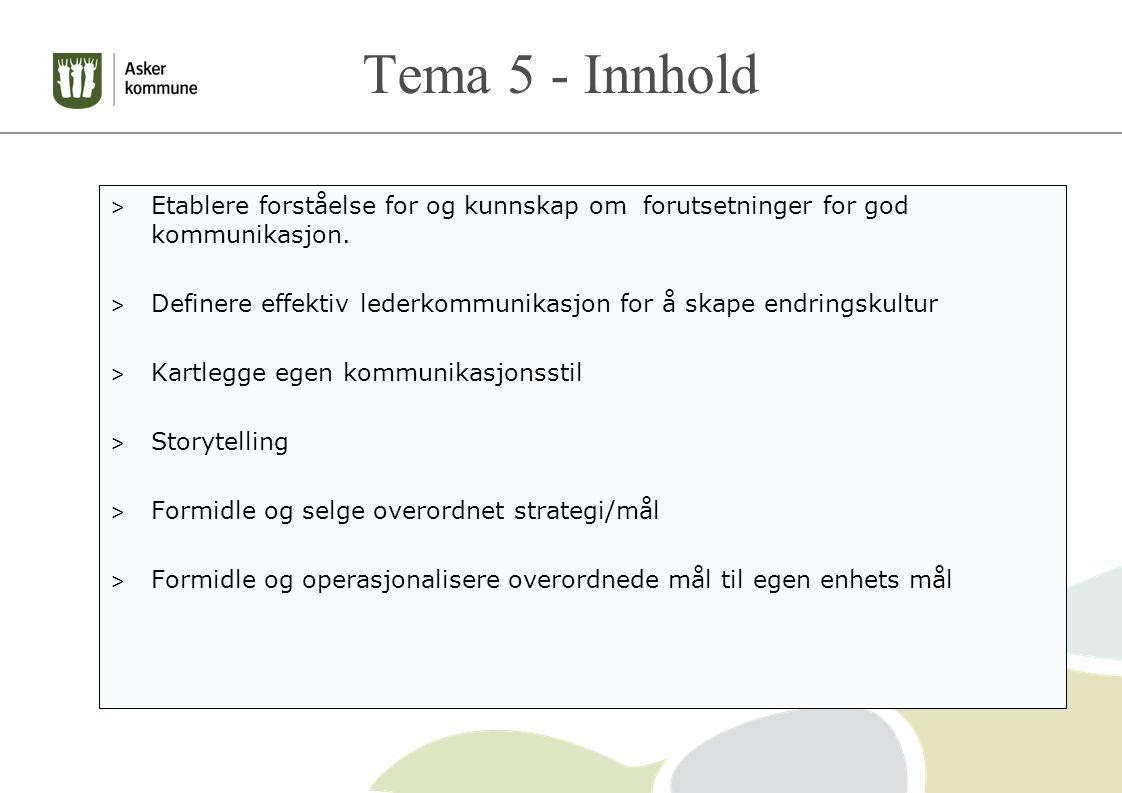 Tema 5 - Innhold Etablere forståelse for og kunnskap om forutsetninger for god kommunikasjon.