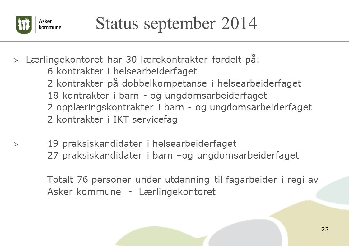 Status september 2014 Lærlingekontoret har 30 lærekontrakter fordelt på: 6 kontrakter i helsearbeiderfaget.