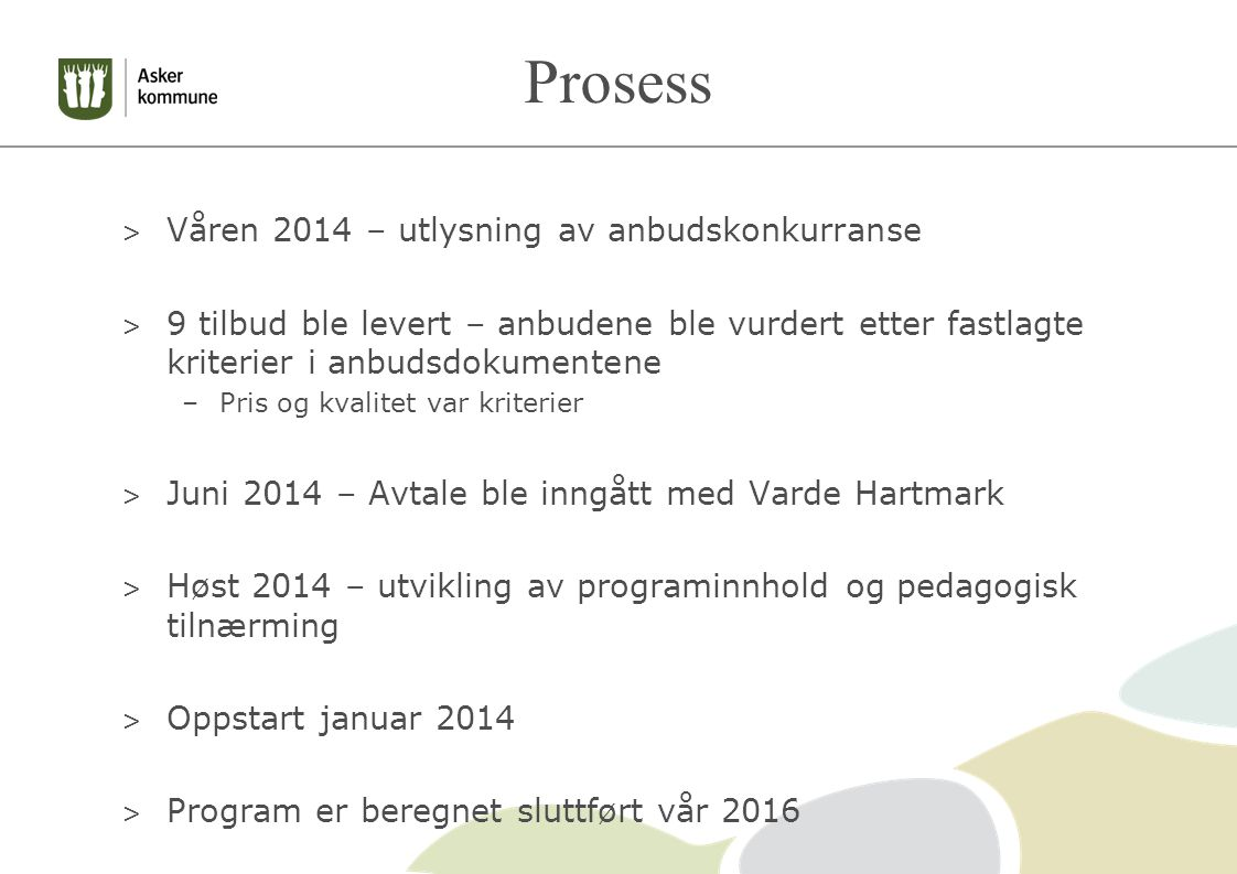 Prosess Våren 2014 – utlysning av anbudskonkurranse