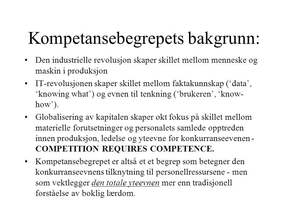 Kompetansebegrepets bakgrunn: