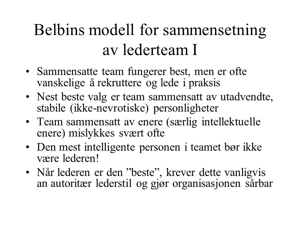 Belbins modell for sammensetning av lederteam I